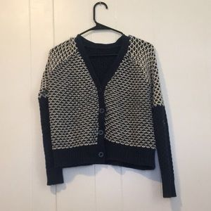 Blue and White Sweater Cardigan